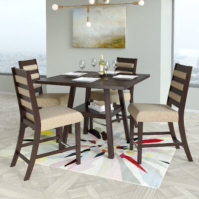 Grayslake 5 Piece Rubberwood Counter Height Dining Set Upholstery Color: Cream