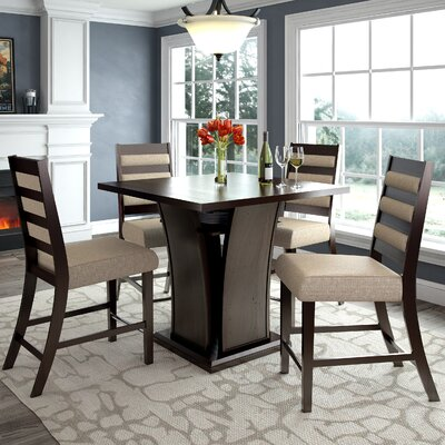 Duluth 5 Piece Counter Height Dining Set Upholstery Color: Cream