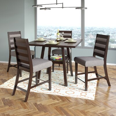Duluth 5 Piece Counter Height Dining Set Upholstery Color: Gray