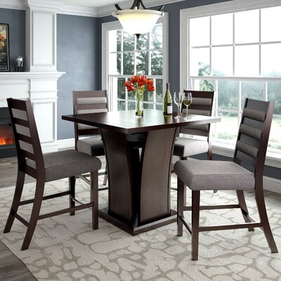 Grayslake 5 Piece Square Counter Height Dining Set Upholstery Color: Gray