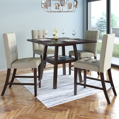 Duluth 5 Piece Counter Height Dining Set Upholstery Color: Beige