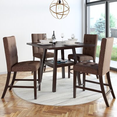 Grayslake 5 Piece Wood Counter Height Dining Set Upholstery Color: Brown