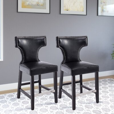 Laughing Sun 24 inch Bar Stool Upholstery: Black