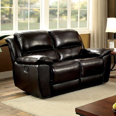 Erie Leather Reclining Loveseat Type: Manual