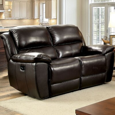 Erie Leather Reclining Loveseat Type: Power