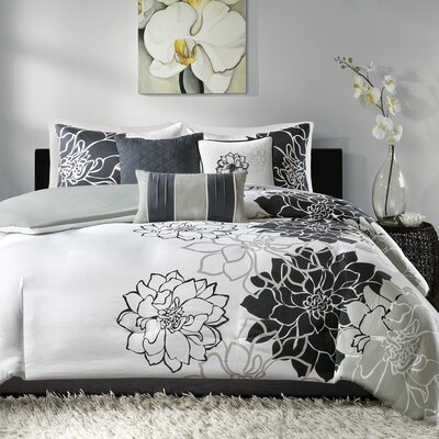 Broadwell 6 Piece Print Reversible Duvet Cover Set Size: Full / Queen, Color: Black