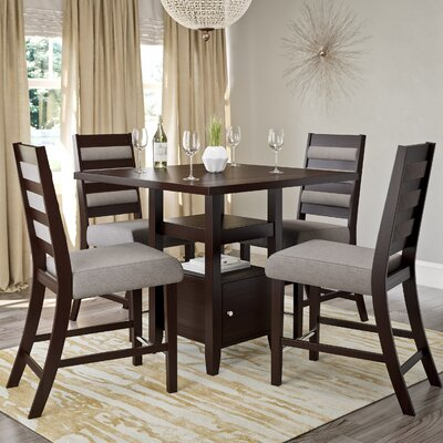 Leiters Transitional 5 Piece Counter Height Dining Set Upholstery Color: Light Gray