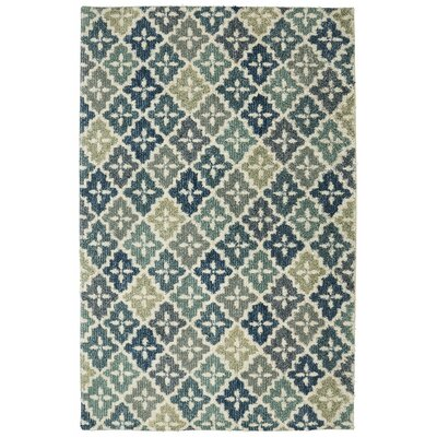 Tamesbury Panel Aqua Blue/Cream Area Rug Rug Size: Rectangle 5 x 7