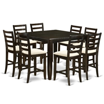 Tamarack 9 Piece Counter Height Dining Set Finish: Cappuccino, Upholstery: Microfiber Cushion