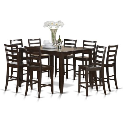 Tamarack 9 Piece Counter Height Dining Set Finish: Cappuccino, Upholstery: Wood Seat