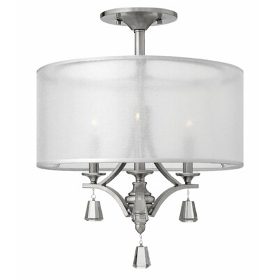 Carlock 3-Light Semi Flush Mount Finish: Brushed Nickel
