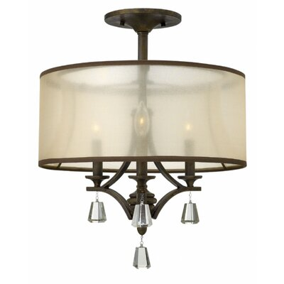 Carlock 3-Light Semi Flush Mount Finish: French Bronze