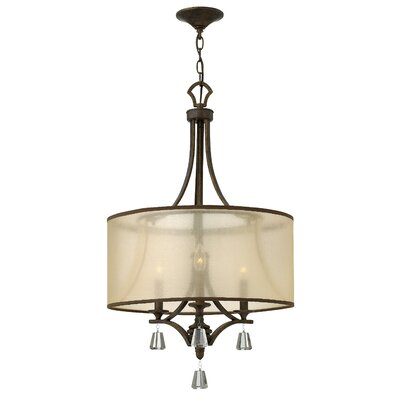 Carlock 3-Light Drum Chandelier Finish: French Bronze
