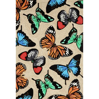 Birchview Butterfly Dance Neutral Indoor/Outdoor Area Rug Rug Size: 5 x 76