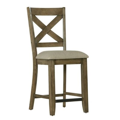 North York 25.25 Bar Stool with Cushion (Set of 2) Upholstery: Fabric - Gray