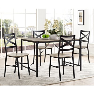 Bantom Angle Iron and Wood 5 Piece Dining Set Finish: Driftwood
