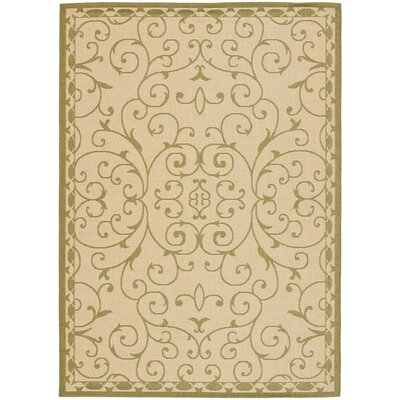 Barhill Cream/Green Indoor/Outdoor Rug Rug Size: 67 x 96