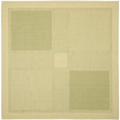 Short Natural / Olive Outdoor Transitional Area Rug Rug Size: Square 67