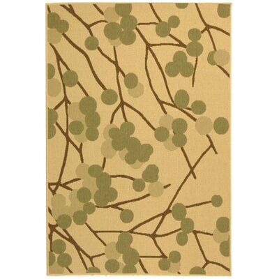 Short Natural Accent Brown / Olive Contemporary Rug Rug Size: Rectangle 53 x 77