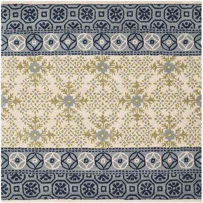 Hodgson Hand-Tufted Ivory/Blue Area Rug Rug Size: Square 5