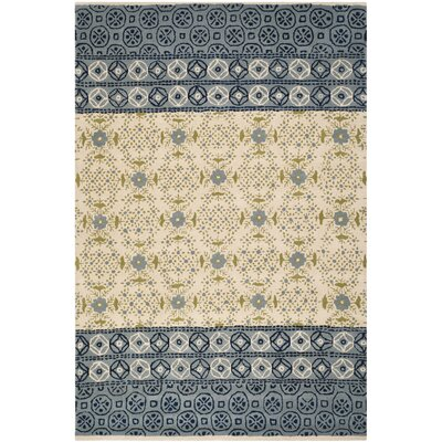 Hodgson Hand-Tufted Ivory/Blue Area Rug Rug Size: Rectangle 8 x 10
