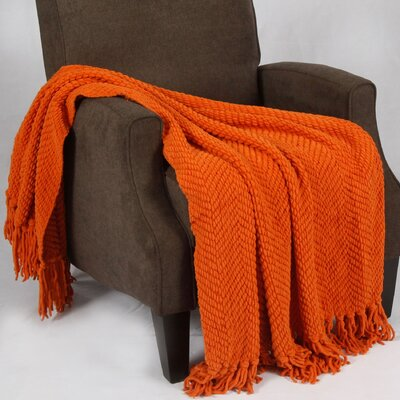Bulfinch Jumbo Knitted Blanket Color: Burnt Orange