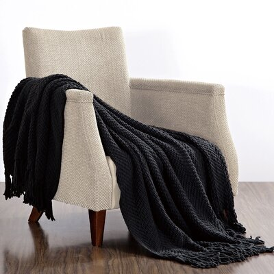 Bulfinch Jumbo Knitted Blanket Color: Raven