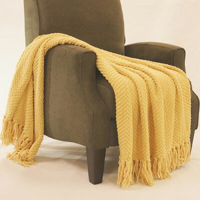 Bulfinch Jumbo Knitted Blanket Color: Jojoba Yellow