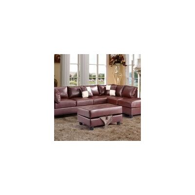 Childress Ottoman Upholstery: Faux Leather Brown