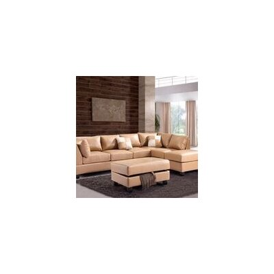 Childress Ottoman Upholstery: Faux Leather Tan