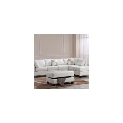 Amberwood Ottoman Upholstery Color: Faux Leather- White