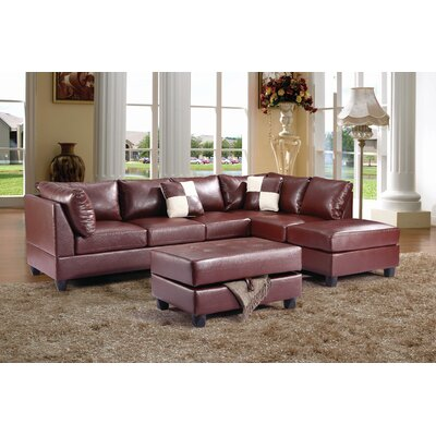 Amberwood Reversible Chaise Sectional Upholstery: Faux Leather Brown