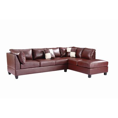Childress Sectional Upholstery: Faux Leather Brown