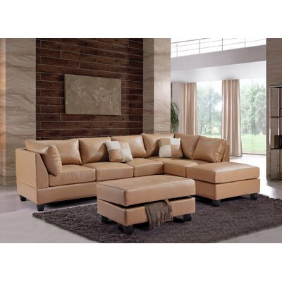 Amberwood Reversible Chaise Sectional Upholstery: Faux Leather Tan