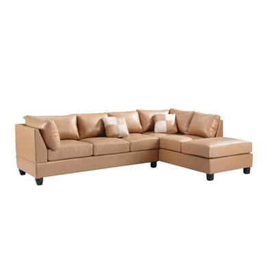 Childress Sectional Upholstery: Faux Leather Tan