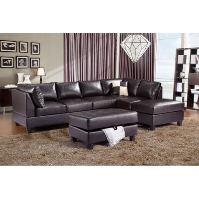 Amberwood Reversible Chaise Sectional Upholstery: Faux Leather Cappucino