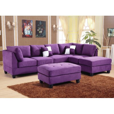 Amberwood Reversible Chaise Sectional Upholstery: Suede Purple