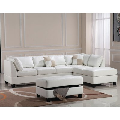 Amberwood Reversible Chaise Sectional Upholstery: Faux Leather White