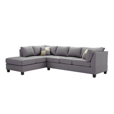 Amberwood Reversible Chaise Sectional Upholstery: Faux Leather Gray