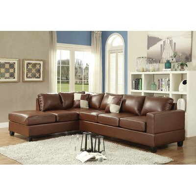 Amberwood Reversible Chaise Sectional Upholstery: Brown