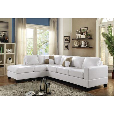 Amberwood Reversible Chaise Sectional Upholstery: White