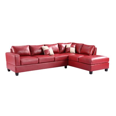 Amberwood Reversible Chaise Sectional Upholstery: Red