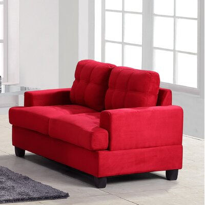 Amberwood Loveseat Upholstery: Red