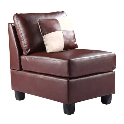 Amberwood Slipper Chair Upholstery Color: Faux Leather - Brown