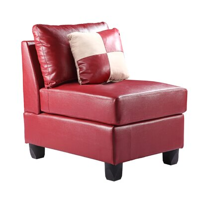 Amberwood Slipper Chair Upholstery Color: Faux Leather - Red