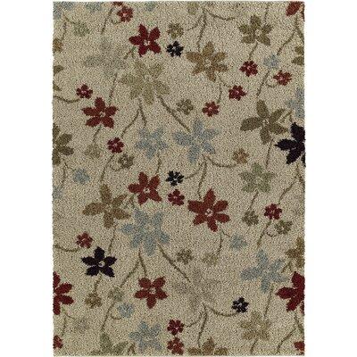 Ariadne Prissy Floral Beige Area Rug Rug Size: 5 x 8