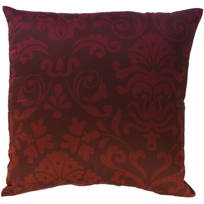 Brownsburg Damask Cotton Throw Pillow Size: 18 H x 18 W x 4 D, Color: Red, Filler: Down