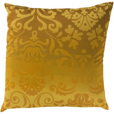 Brownsburg Damask Cotton Throw Pillow Size: 18 H x 18 W x 4 D, Color: Yellow, Filler: Down