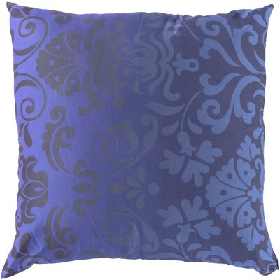 Brownsburg Damask Cotton Throw Pillow Size: 18 H x 18 W x 4 D, Color: Blue, Filler: Polyester