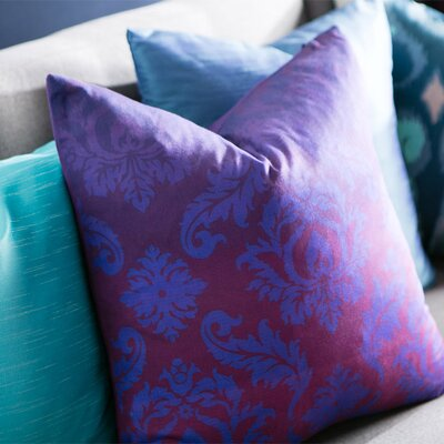 Brownsburg Damask Cotton Throw Pillow Size: 22 H x 22 W x 4 D, Color: Purple, Filler: Down